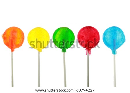 lollypops isolated on white - stock photo