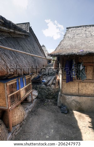 Lombok, Indonesia, 1 June 2014 - Sasak village houses