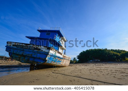 Lombok, Indonesia - 30th Mar 2016 : Unidentified ship abandoned could be found in Kuta Beach, Lombok.