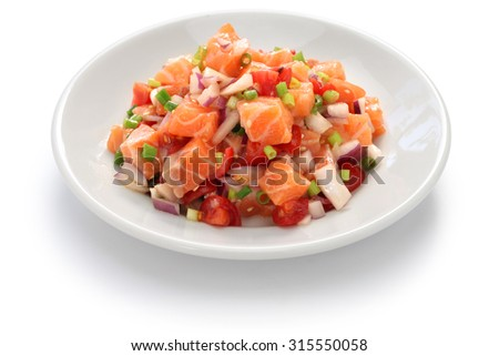 lomi lomi salmon, hawaiian raw salmon salad