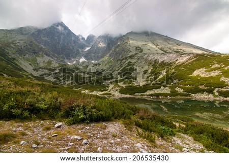 Lomnicky Peak and Skalnate Tarn, Vysoke Tatry - High Tatras, Slovakia - stock photo