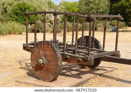 LOMPOC, CALIFORNIA - SEPTEMBER 21, 2016: Mission La Purisima ox cart. La Purisima was the eleventh mission of the twenty-one Spanish Missions and most restored to date.