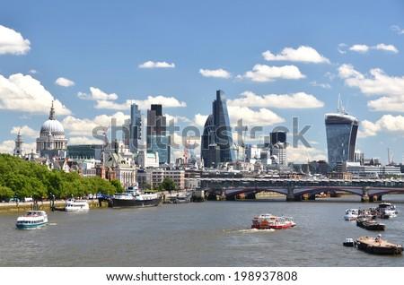 London across Thames river - stock photo