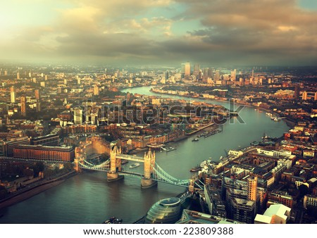 London aerial view with  Tower Bridge in sunset time - stock photo