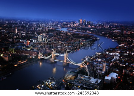 London aerial view with Tower Bridge, UK - stock photo