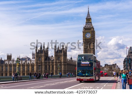 LONDON - APR 11:Big Ben on April 12, 2015 in London, England. The road in front of the big ben the popular place for travelers