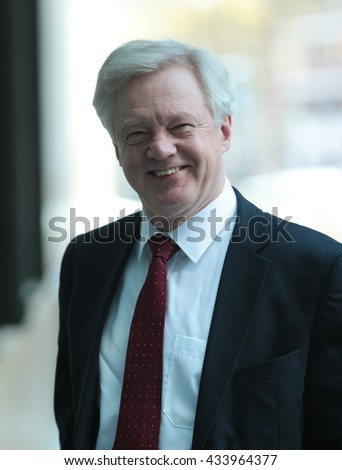 LONDON - APR 17, 2016: David Davis attends the Andrew Marr Show at the BBC studios on Apr 17, 2016 in London