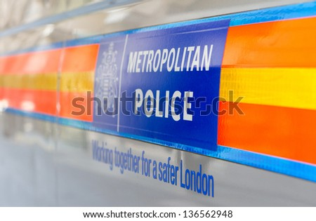LONDON - APR 24: Metropolitan Police Vehicle. The force is the largest in the UK and has announced huge changes to its internal structure this month in London on April, 24, 2013. - stock photo