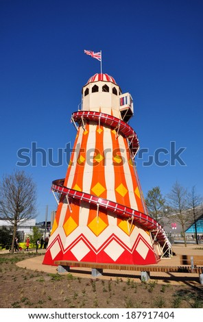 LONDON - APRIL 16. A Helter Skelter on April 16, 2014, at the new Queen Elizabeth Olympic Park, a landscaped public area with entertainment, art, recreation and sports attractions, in east London, UK. - stock photo