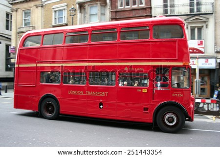 LONDON - APRIL 5,2008: Heritage Route master Bus operating in London on April 5, 2008 in London, UK. - stock photo