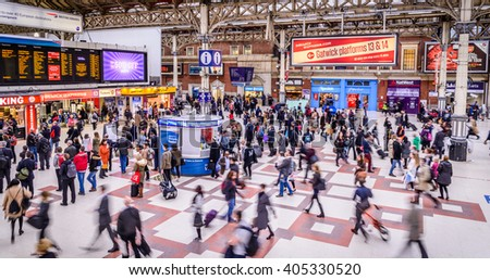 LONDON - APRIL 13, 2016 : Inside view of Victoria Station, since 1860, second busiest railway terminus after Waterloo, served 73 million passenger between 2010 - 2011, - stock photo
