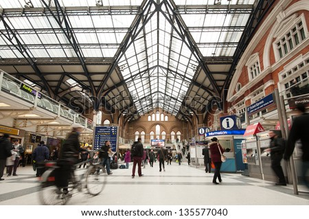 LONDON - APRIL 9 : Liverpool St. Station interior view. The annual rail passenger usage between 2011 - 2012 was 13.835 million. Seen on April 9, 2013 in London, UK. - stock photo