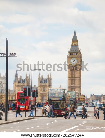 LONDON - APRIL 5: London with the Elizabeth Tower on April 5, 2015 in London, UK. The tower is officially known as the Elizabeth Tower, renamed as such to celebrate the Jubilee of Elizabeth II. - stock photo