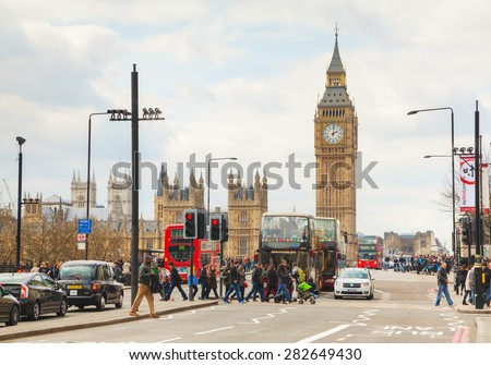 LONDON - APRIL 5: Overview of London with the Elizabeth Tower on April 5, 2015 in London, UK. The tower is officially known as the Elizabeth Tower, renamed as such to celebrate Jubilee of Elizabeth II - stock photo