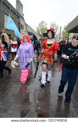 LONDON - APRIL 29: People attending the Sci Fi London Parade London April 29th, 2012 in London, England.