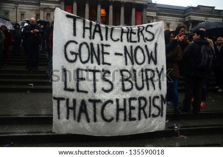 LONDON - APRIL 13:People celebrate the death of ex British Prime Mister Margret Thatcher At The Thatcher Is Dead Party in Londons Trafalgar Square London April 13th, 2013 in London, England.