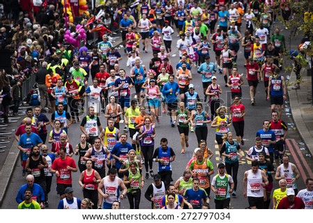 LONDON - APRIL 26: Runners in the London Marathon on April, 26, 2015 in London, UK. The London Marathon is next to New York, Berlin, Chicago and Boston to the World Marathon Majors, Champions League
