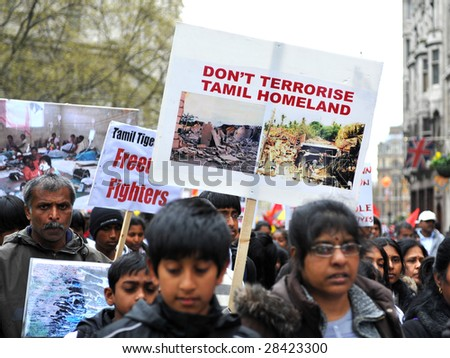 London - April 11: Tamil protesters demonstrate by marching through Westminster, calling for a ceasefire between Sri Lanken forces and Tamil Tiger Separatists. Westminster, London 11th April 2009.