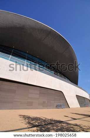 LONDON - APRIL 16. The Aquatics Centre at the new Queen Elizabeth Olympic Park on April 16, 2014, designed by Zaha Hadid Architects, now open to the public at Stratford, east London, UK.