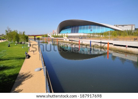 LONDON - APRIL 16. The Aquatics Centre at the new Queen Elizabeth Olympic Park on April 16, 2014, a landscaped public area for sport, art, recreation and entertainment in Stratford, London, UK. - stock photo