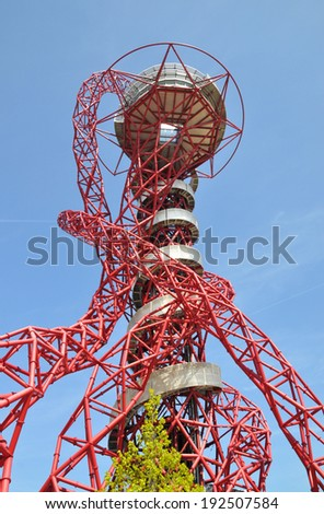 LONDON - APRIL 16. The ArcelorMittal Orbit at the new Queen Elizabeth Olympic Park on April 16, 2014, a legacy of the Olympic Games designed by Anish Kapoor and Cecil Balmond, at Stratford, London. - stock photo