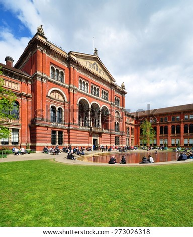 LONDON - APRIL 25, 2015. The John Madejski Garden in the heart of the Victoria & Albert Museum. The 1852 building houses the world's largest collection of decorative arts and design, in London. - stock photo