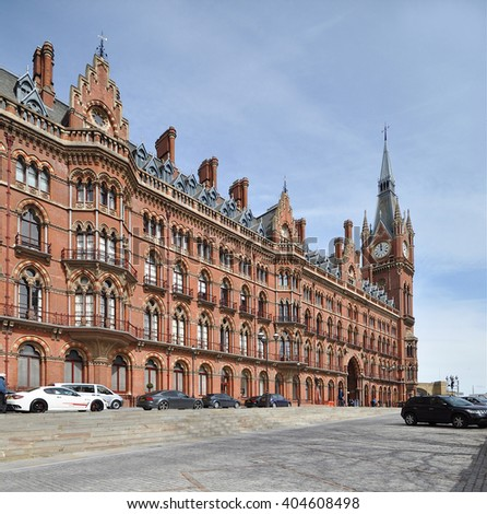 LONDON  APRIL 10. 2016. The restored 1868 south-east facade of St Pancras International railway station and hotel, the redeveloped terminus for Eurostar services to Europe, in London, UK - stock photo
