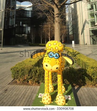 London - April 05, 2015: The Shaun the Sheep trail in London marked the release of the Shaun the Sheep Movie. Lenny by Vivi Cuevas.
