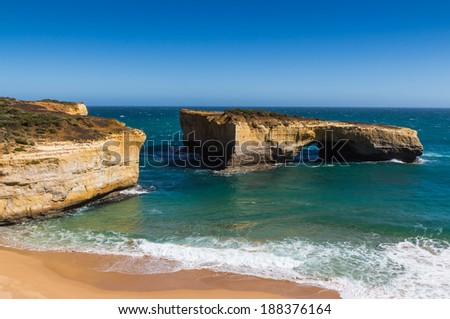 London Arch at Port Campbell National Park on the great ocean road in Victoria Australia - stock photo