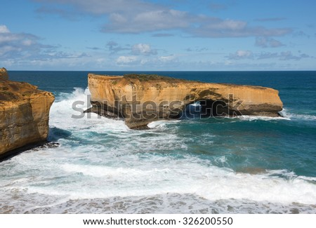 London Arch, Great Ocean Road, Port Campbell National Park, Victoria, Australia - stock photo