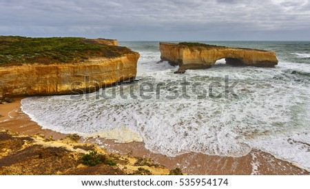 London Arch stack formation along Great Ocean Road in Victoria, Australia