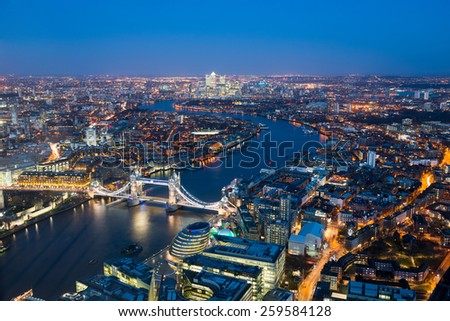 London at night ,aerial view with Tower Bridge, UK - stock photo