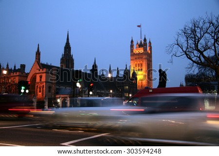 London at night, Houses of Parliament