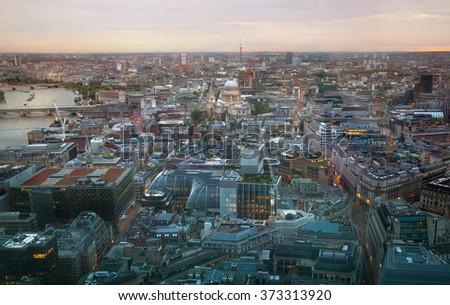 London at sunset, aerial view includes famous buildings, streets and st. Paul's cathedral - stock photo