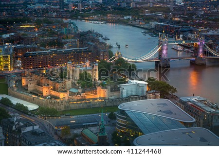 London at sunset. City of London, Tower bridge and River Thames with reflections  - stock photo