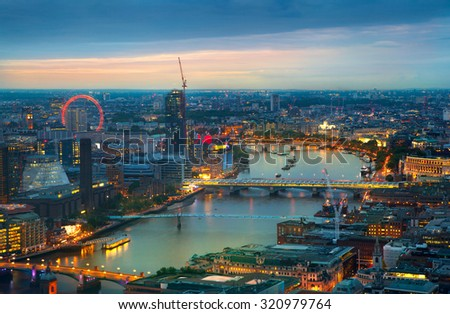 London at sunset, panoramic view - stock photo