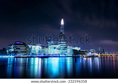 London at sunset, panoramic view from river - stock photo