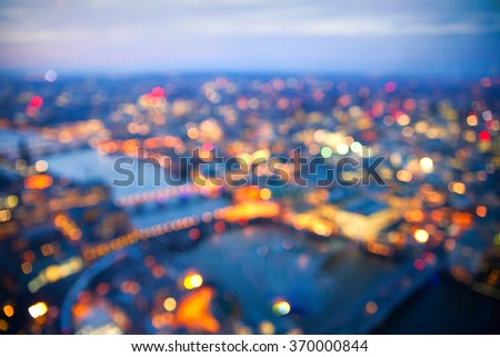 London at sunset, River Thames and bridges - stock photo
