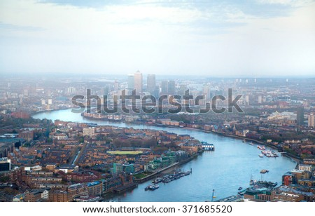 London at sunset, River Thames and bridges