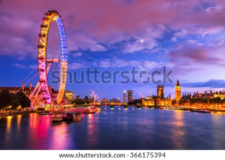 London at twilight. London eye, County Hall, Westminster Bridge, Big Ben and Houses of Parliament. - stock photo