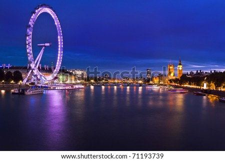 London at twilight. London eye, County Hall, Westminster Bridge, Big Ben and Houses of Parliament.