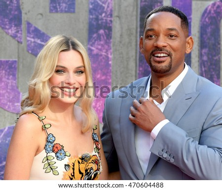 LONDON - AUG 03, 2016: Margot Robbie and Will Smith attend the Suicide Squad film premiere on Aug 03, 2016 in London