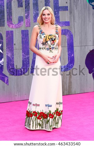LONDON - AUG 03, 2016: Margot Robbie attends the Suicide Squad film premiere on Aug 03, 2016 in London