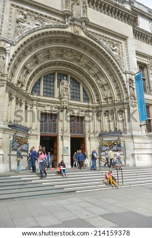 LONDON - AUG 30, 2014: The entrance to the Victoria and Albert Museum in London. The Victoria and Albert Museum houses a permanent collection of over 4.5 million objects and pieces of art. - stock photo