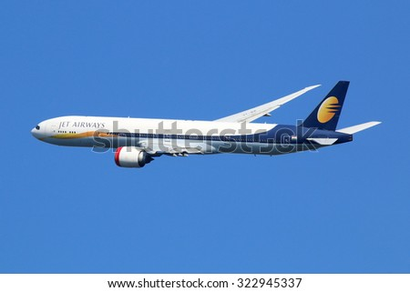 LONDON - AUGUST 28: A Jet Airways Boeing 777 taking off on August 28, 2015 in London. Jet Airways is the largest private carrier airline in India based in Mumbai.