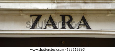 LONDON - AUGUST 6: A London Zara store logo is shown here on August 6, 2015. Zara has more than 1,200 stores worldwide.