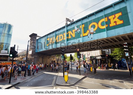 LONDON - AUGUST 8: Camden Lock sign in Camden Market area, famous tourist attraction on August 8, 2015 in London, UK. The Market attracts thousands of visitors each weekend. - stock photo