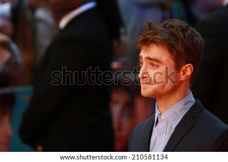 LONDON - AUGUST 12: Daniel Radcliffe attends the UK Premiere of What if at the Odeon West End on August 12, 2014 in London