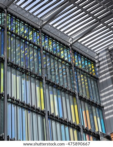 LONDON - AUGUST 16, 2016. Detail of the patterned facade of The Francis Crick Institute, a new biomedical research centre designed by HOK with PLP Architecture, opening soon at Kings Cross, London.