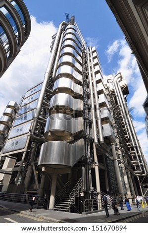 LONDON - AUGUST 10. Lloyd's of London, the iconic insurance market building designed by Richard Rogers, was completed in 1986 and now Grade 1 listed; August 10, 2013, in London, UK.